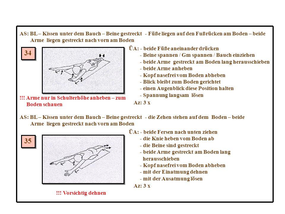 34 35 AS: BL – Kissen unter dem Bauch – Beine gestreckt - Füße liegen auf den Fußrücken am Boden – beide Arme liegen gestreckt nach vorn am Boden ÜA: - beide Füße aneinander drücken - Beine spannen / Gm spannen / Bauch einziehen - beide Arme gestreckt am Boden lang herausschieben - beide Arme anheben - Kopf nasefrei vom Boden abheben - Blick bleibt zum Boden gerichtet - einen Augenblick diese Position halten - Spannung langsam lösen Az: 3 x !!.
