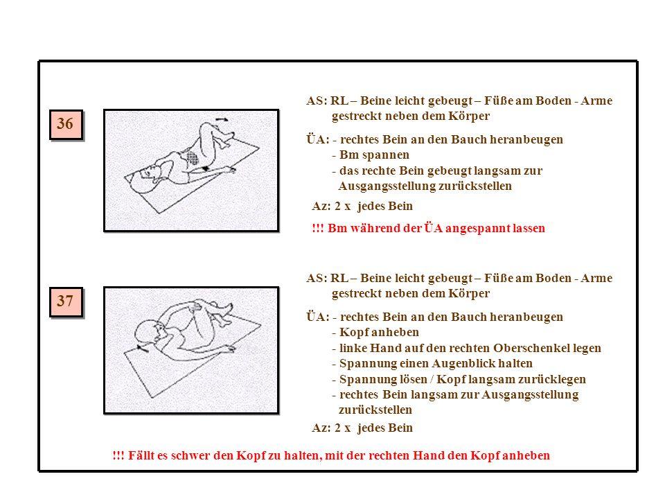 36 37 AS: RL – Beine leicht gebeugt – Füße am Boden - Arme gestreckt neben dem Körper ÜA: - rechtes Bein an den Bauch heranbeugen - Bm spannen - das rechte Bein gebeugt langsam zur Ausgangsstellung zurückstellen Az: 2 x jedes Bein !!.