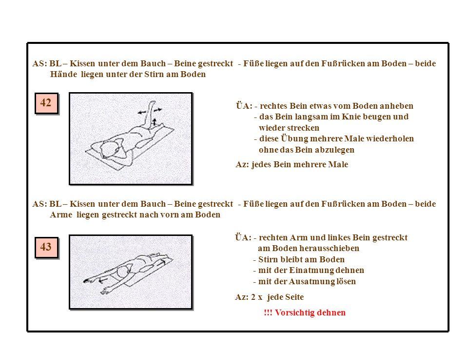 42 43 AS: BL – Kissen unter dem Bauch – Beine gestreckt - Füße liegen auf den Fußrücken am Boden – beide Hände liegen unter der Stirn am Boden ÜA: - rechtes Bein etwas vom Boden anheben - das Bein langsam im Knie beugen und wieder strecken - diese Übung mehrere Male wiederholen ohne das Bein abzulegen Az: jedes Bein mehrere Male AS: BL – Kissen unter dem Bauch – Beine gestreckt - Füße liegen auf den Fußrücken am Boden – beide Arme liegen gestreckt nach vorn am Boden ÜA: - rechten Arm und linkes Bein gestreckt am Boden herausschieben - Stirn bleibt am Boden - mit der Einatmung dehnen - mit der Ausatmung lösen Az: 2 x jede Seite !!.