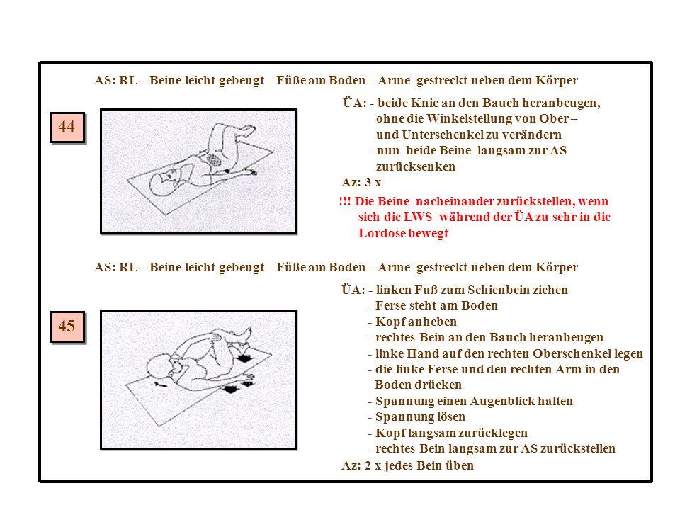 AS: RL – Beine leicht gebeugt – Füße am Boden – Arme gestreckt neben dem Körper 44 45 ÜA: - beide Knie an den Bauch heranbeugen, ohne die Winkelstellung von Ober – und Unterschenkel zu verändern - nun beide Beine langsam zur AS zurücksenken Az: 3 x !!.