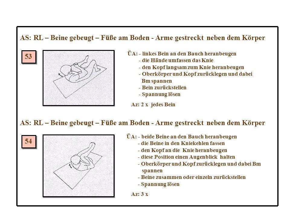 53 54 AS: RL – Beine gebeugt – Füße am Boden - Arme gestreckt neben dem Körper ÜA: - linkes Bein an den Bauch heranbeugen - die Hände umfassen das Knie - den Kopf langsam zum Knie heranbeugen - Oberkörper und Kopf zurücklegen und dabei Bm spannen - Bein zurückstellen - Spannung lösen Az: 2 x jedes Bein ÜA: - beide Beine an den Bauch heranbeugen - die Beine in den Kniekehlen fassen - den Kopf an die Knie heranbeugen - diese Position einen Augenblick halten - Oberkörper und Kopf zurücklegen und dabei Bm spannen - Beine zusammen oder einzeln zurückstellen - Spannung lösen Az: 3 x