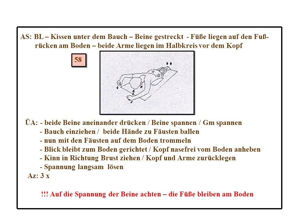 58 AS: BL – Kissen unter dem Bauch – Beine gestreckt - Füße liegen auf den Fuß- rücken am Boden – beide Arme liegen im Halbkreis vor dem Kopf ÜA: - beide Beine aneinander drücken / Beine spannen / Gm spannen - Bauch einziehen / beide Hände zu Fäusten ballen - nun mit den Fäusten auf dem Boden trommeln - Blick bleibt zum Boden gerichtet / Kopf nasefrei vom Boden anheben - Kinn in Richtung Brust ziehen / Kopf und Arme zurücklegen - Spannung langsam lösen Az: 3 x !!.