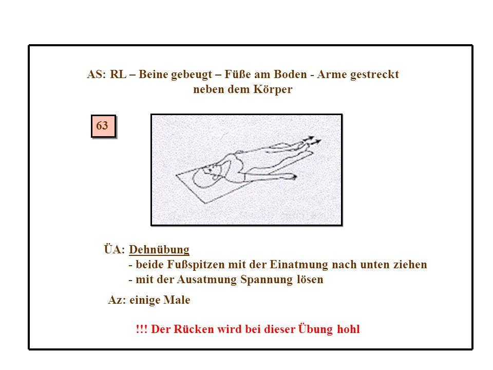 63 AS: RL – Beine gebeugt – Füße am Boden - Arme gestreckt neben dem Körper ÜA: Dehnübung - beide Fußspitzen mit der Einatmung nach unten ziehen - mit der Ausatmung Spannung lösen Az: einige Male !!.