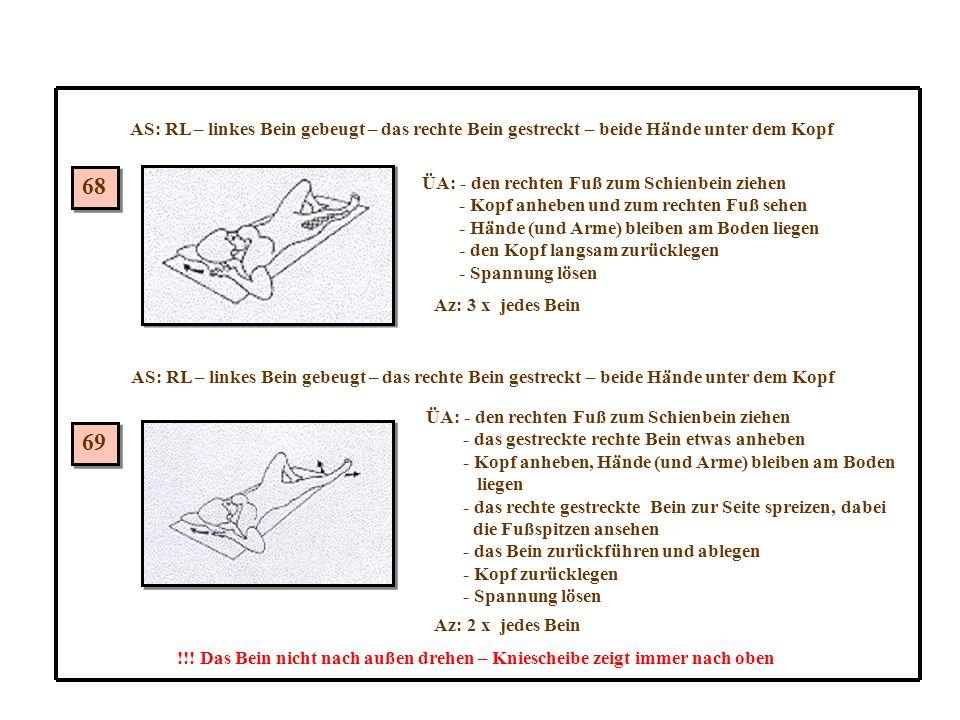 68 69 AS: RL – linkes Bein gebeugt – das rechte Bein gestreckt – beide Hände unter dem Kopf ÜA: - den rechten Fuß zum Schienbein ziehen - Kopf anheben und zum rechten Fuß sehen - Hände (und Arme) bleiben am Boden liegen - den Kopf langsam zurücklegen - Spannung lösen Az: 3 x jedes Bein AS: RL – linkes Bein gebeugt – das rechte Bein gestreckt – beide Hände unter dem Kopf ÜA: - den rechten Fuß zum Schienbein ziehen - das gestreckte rechte Bein etwas anheben - Kopf anheben, Hände (und Arme) bleiben am Boden liegen - das rechte gestreckte Bein zur Seite spreizen, dabei die Fußspitzen ansehen - das Bein zurückführen und ablegen - Kopf zurücklegen - Spannung lösen Az: 2 x jedes Bein !!.