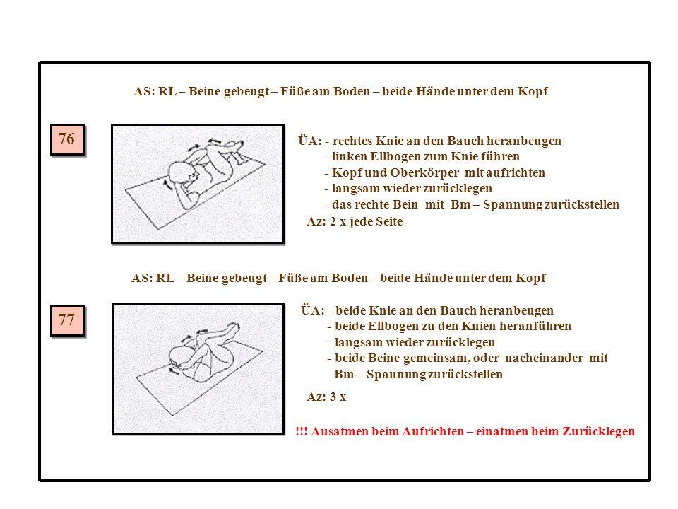 76 77 AS: RL – Beine gebeugt – Füße am Boden – beide Hände unter dem Kopf ÜA: - rechtes Knie an den Bauch heranbeugen - linken Ellbogen zum Knie führen - Kopf und Oberkörper mit aufrichten - langsam wieder zurücklegen - das rechte Bein mit Bm – Spannung zurückstellen Az: 2 x jede Seite ÜA: - beide Knie an den Bauch heranbeugen - beide Ellbogen zu den Knien heranführen - langsam wieder zurücklegen - beide Beine gemeinsam, oder nacheinander mit Bm – Spannung zurückstellen Az: 3 x !!.