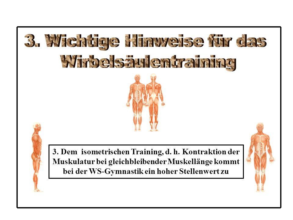 3.Dem isometrischen Training, d. h.