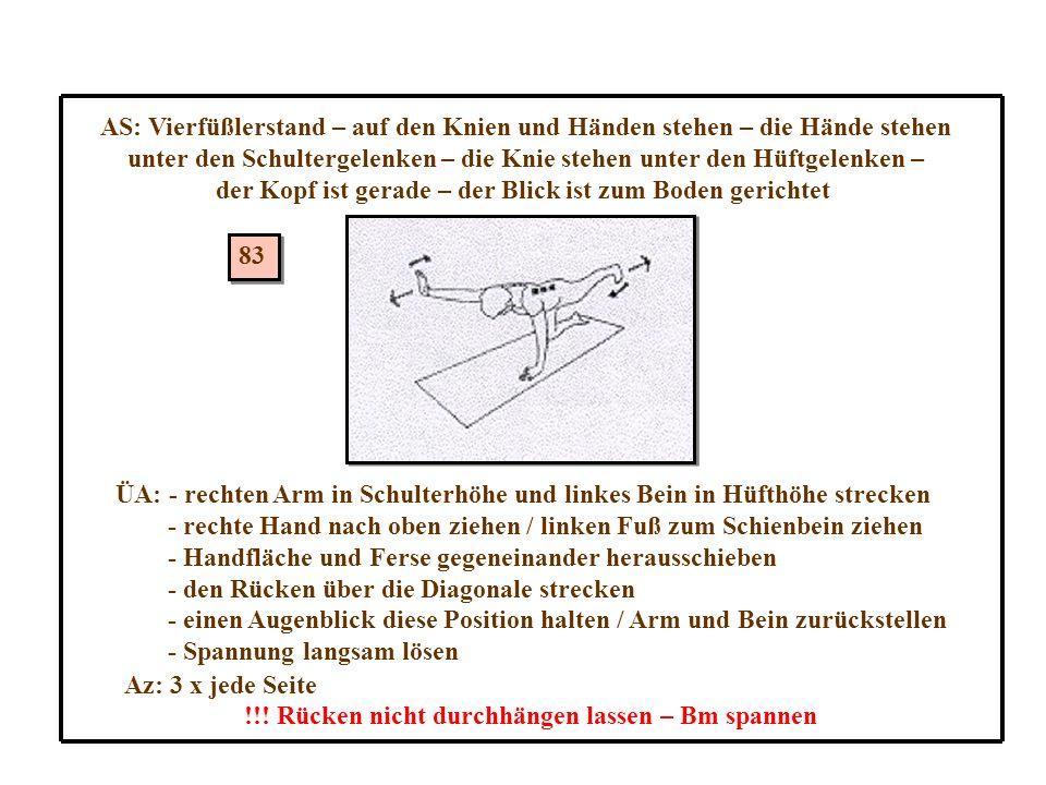 83 AS: Vierfüßlerstand – auf den Knien und Händen stehen – die Hände stehen unter den Schultergelenken – die Knie stehen unter den Hüftgelenken – der Kopf ist gerade – der Blick ist zum Boden gerichtet ÜA: - rechten Arm in Schulterhöhe und linkes Bein in Hüfthöhe strecken - rechte Hand nach oben ziehen / linken Fuß zum Schienbein ziehen - Handfläche und Ferse gegeneinander herausschieben - den Rücken über die Diagonale strecken - einen Augenblick diese Position halten / Arm und Bein zurückstellen - Spannung langsam lösen Az: 3 x jede Seite !!.