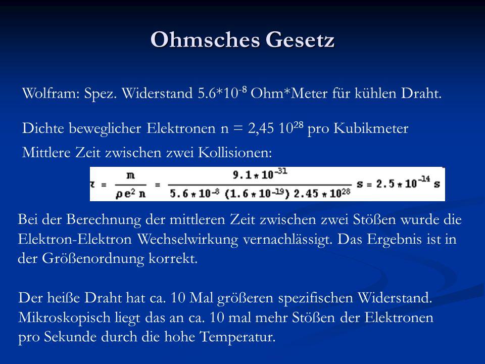 Ohmsches Gesetz Bei der Berechnung der mittleren Zeit zwischen zwei Stößen wurde die Elektron-Elektron Wechselwirkung vernachlässigt.