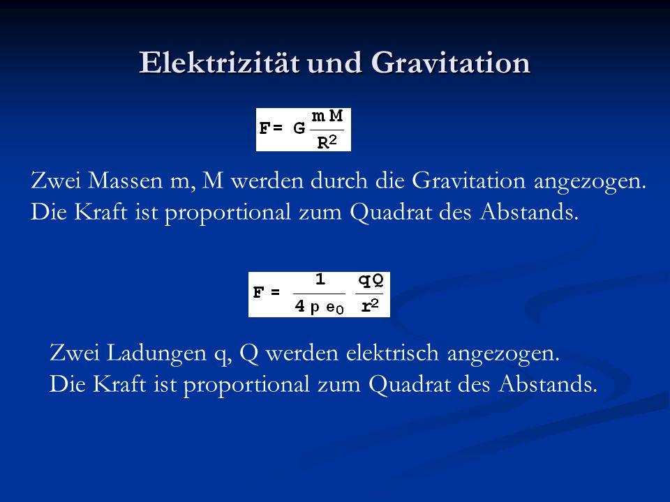 Elektrizität und Gravitation Zwei Massen m, M werden durch die Gravitation angezogen.