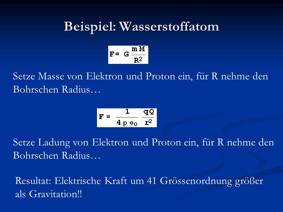 Beispiel: Wasserstoffatom Setze Masse von Elektron und Proton ein, für R nehme den Bohrschen Radius… Setze Ladung von Elektron und Proton ein, für R nehme den Bohrschen Radius… Resultat: Elektrische Kraft um 41 Grössenordnung größer als Gravitation!!