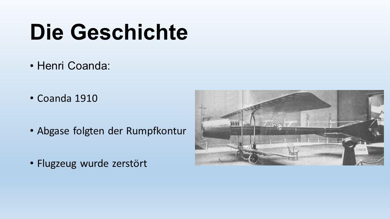 Die Geschichte Henri Coanda: Coanda 1910 Abgase folgten der Rumpfkontur Flugzeug wurde zerstört