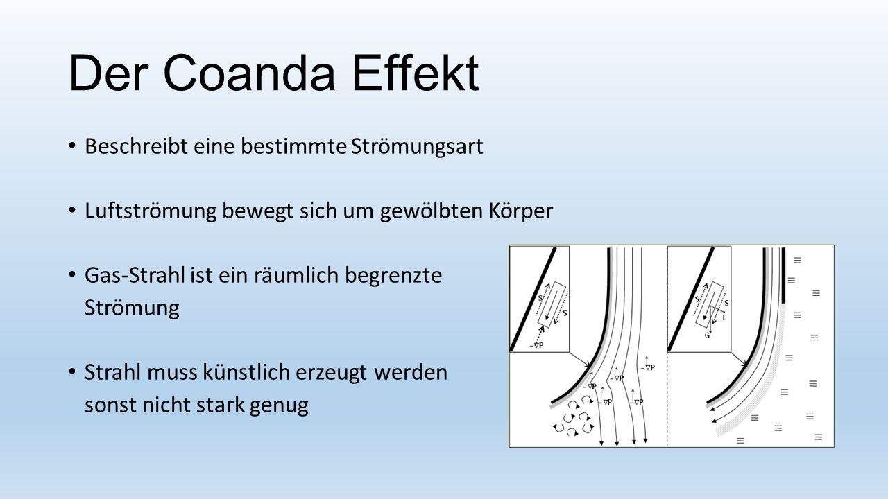 Der Coanda Effekt Beschreibt eine bestimmte Strömungsart Luftströmung bewegt sich um gewölbten Körper Gas-Strahl ist ein räumlich begrenzte Strömung S