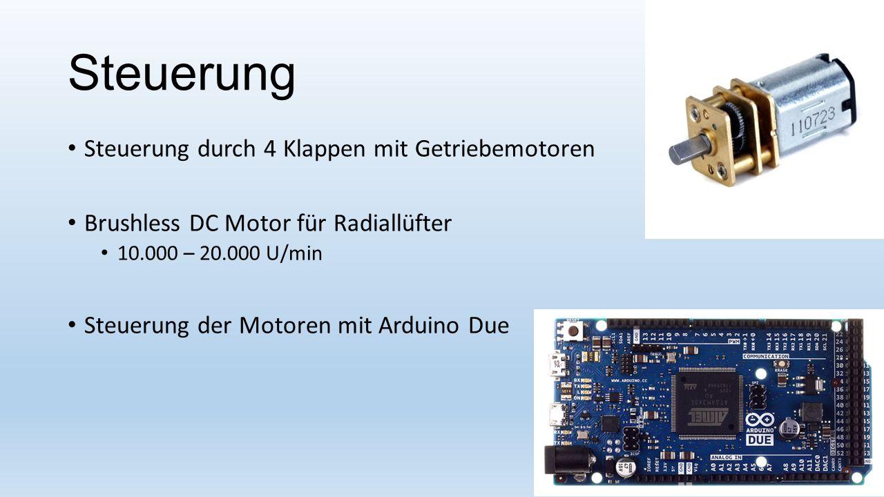 Steuerung Steuerung durch 4 Klappen mit Getriebemotoren Brushless DC Motor für Radiallüfter 10.000 – 20.000 U/min Steuerung der Motoren mit Arduino Du
