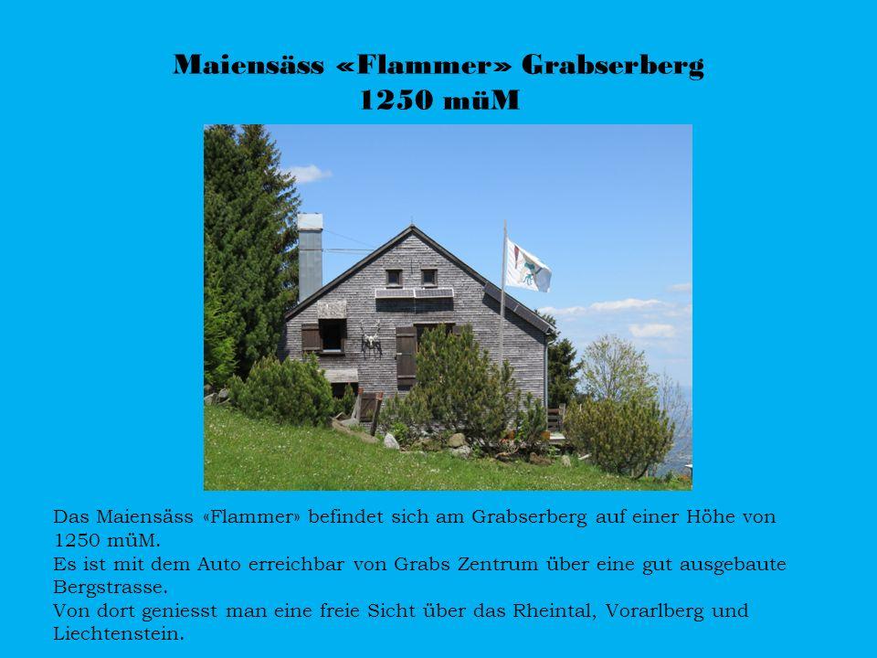 Maiensäss «Flammer» Grabserberg 1250 müM Das Maiensäss «Flammer» befindet sich am Grabserberg auf einer Höhe von 1250 müM. Es ist mit dem Auto erreich