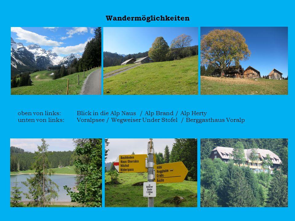 Wandermöglichkeiten oben von links: Blick in die Alp Naus / Alp Brand / Alp Herty unten von links: Voralpsee / Wegweiser Under Stofel / Berggasthaus V