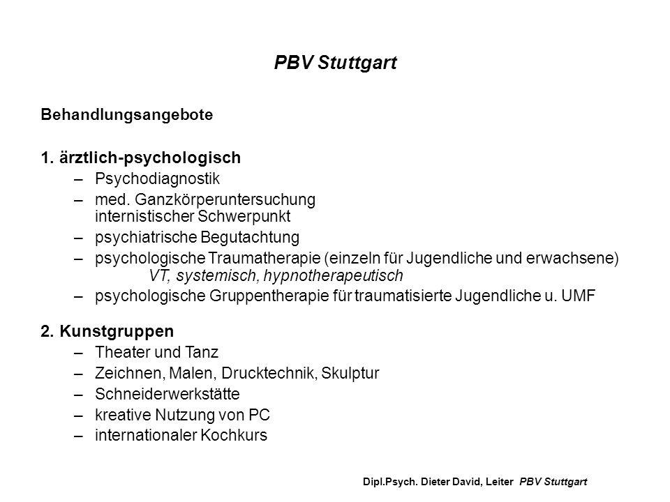 PBV Stuttgart Behandlungsangebote 1. ärztlich-psychologisch –Psychodiagnostik –med. Ganzkörperuntersuchung internistischer Schwerpunkt –psychiatrische