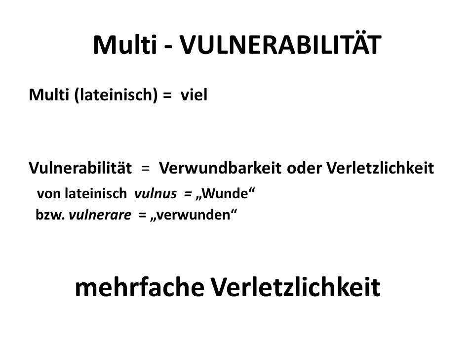 """Multi - VULNERABILITÄT Multi (lateinisch) = viel Vulnerabilität = Verwundbarkeit oder Verletzlichkeit von lateinisch vulnus = """"Wunde"""" bzw. vulnerare ="""