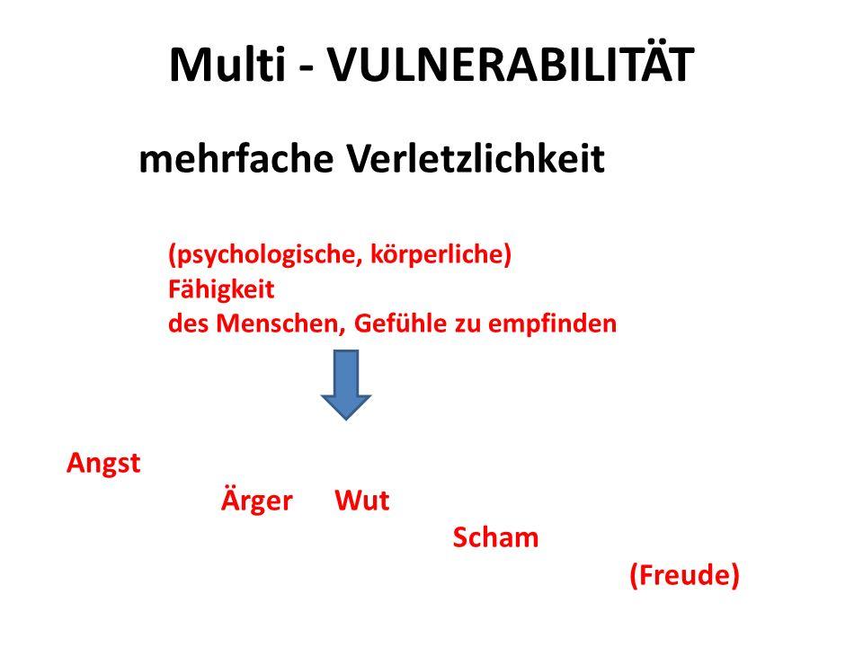 Multi - VULNERABILITÄT mehrfache Verletzlichkeit (psychologische, körperliche) Fähigkeit des Menschen, Gefühle zu empfinden Angst Ärger Wut Scham (Fre