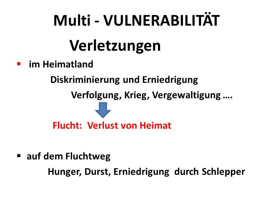 Multi - VULNERABILITÄT Verletzungen  im Heimatland Diskriminierung und Erniedrigung Verfolgung, Krieg, Vergewaltigung …. Flucht: Verlust von Heimat 