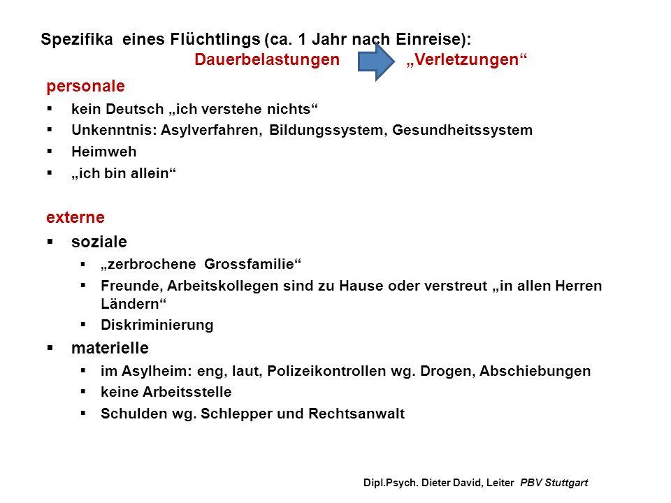 """Spezifika eines Flüchtlings (ca. 1 Jahr nach Einreise): Dauerbelastungen """"Verletzungen"""" personale  kein Deutsch """"ich verstehe nichts""""  Unkenntnis: A"""