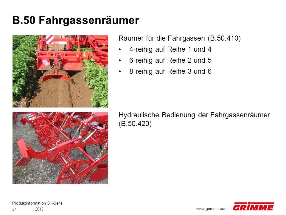 Produktinformation GH-Serie 2013 24 www.grimme.com Räumer für die Fahrgassen (B.50.410) 4-reihig auf Reihe 1 und 4 6-reihig auf Reihe 2 und 5 8-reihig