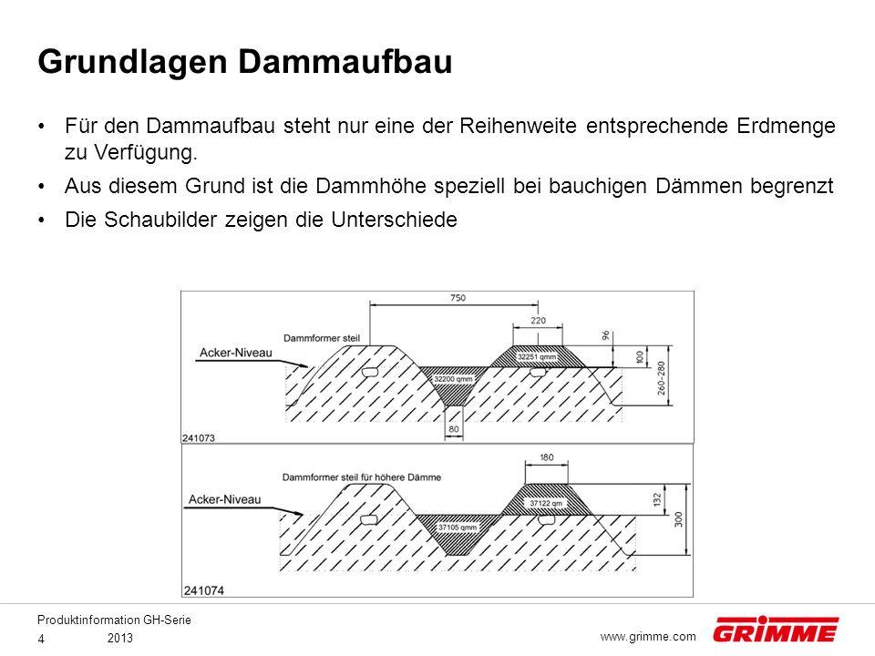 Produktinformation GH-Serie 2013 4 www.grimme.com Für den Dammaufbau steht nur eine der Reihenweite entsprechende Erdmenge zu Verfügung. Aus diesem Gr