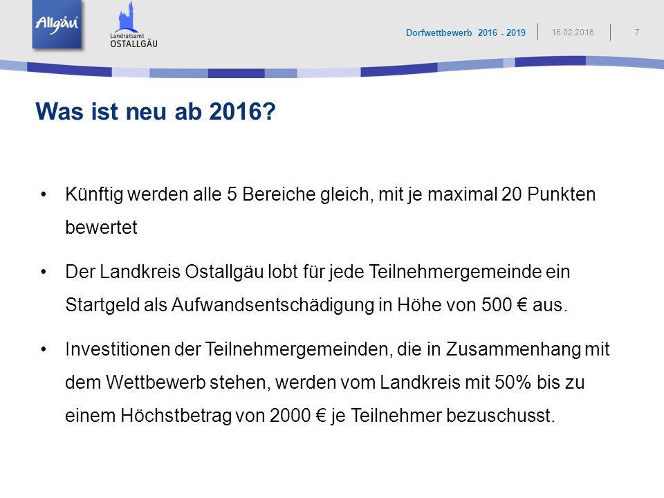 1. Dorfleitbild: Seeg - das Honigdorf im Allgäu 8 Dorfwettbewerb 2016 - 2019 16.02.2016