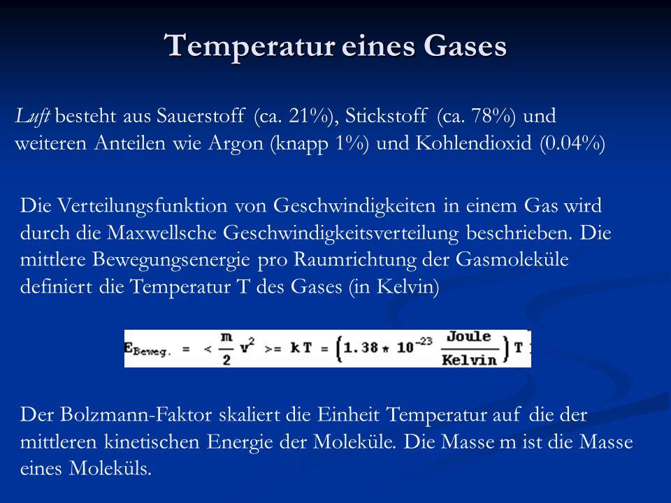 Maxwellsche Geschwindigkeitsverteilung Eine gute Animation zur Geschwindigkeitsverteilung findet sich unter http://www.schulphysik.de/java/physlet/applets/maxwell.html Beispiel für die Geschwindigkeitsverteilung von Stickstoffmolekülen.