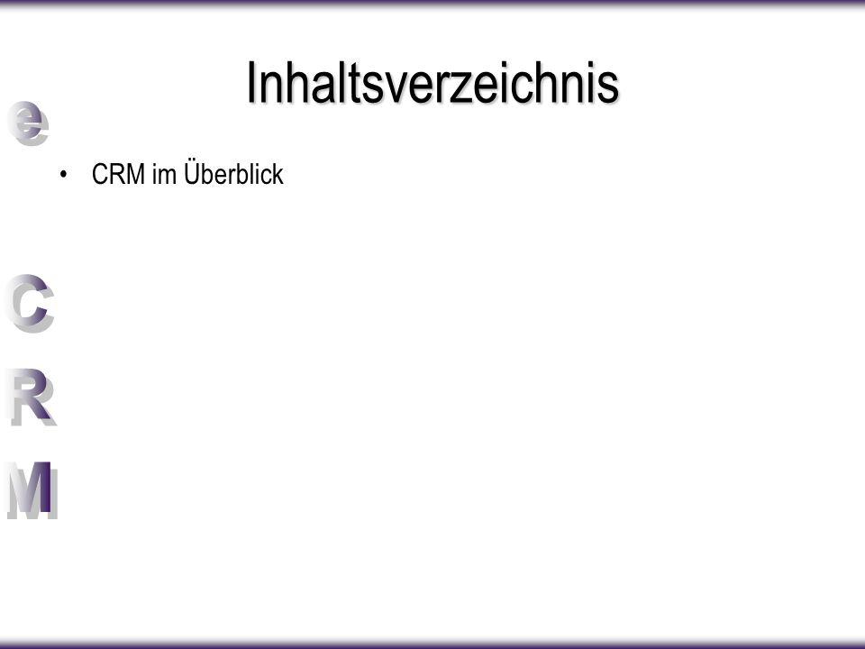 Inhaltsverzeichnis CRM im Überblick