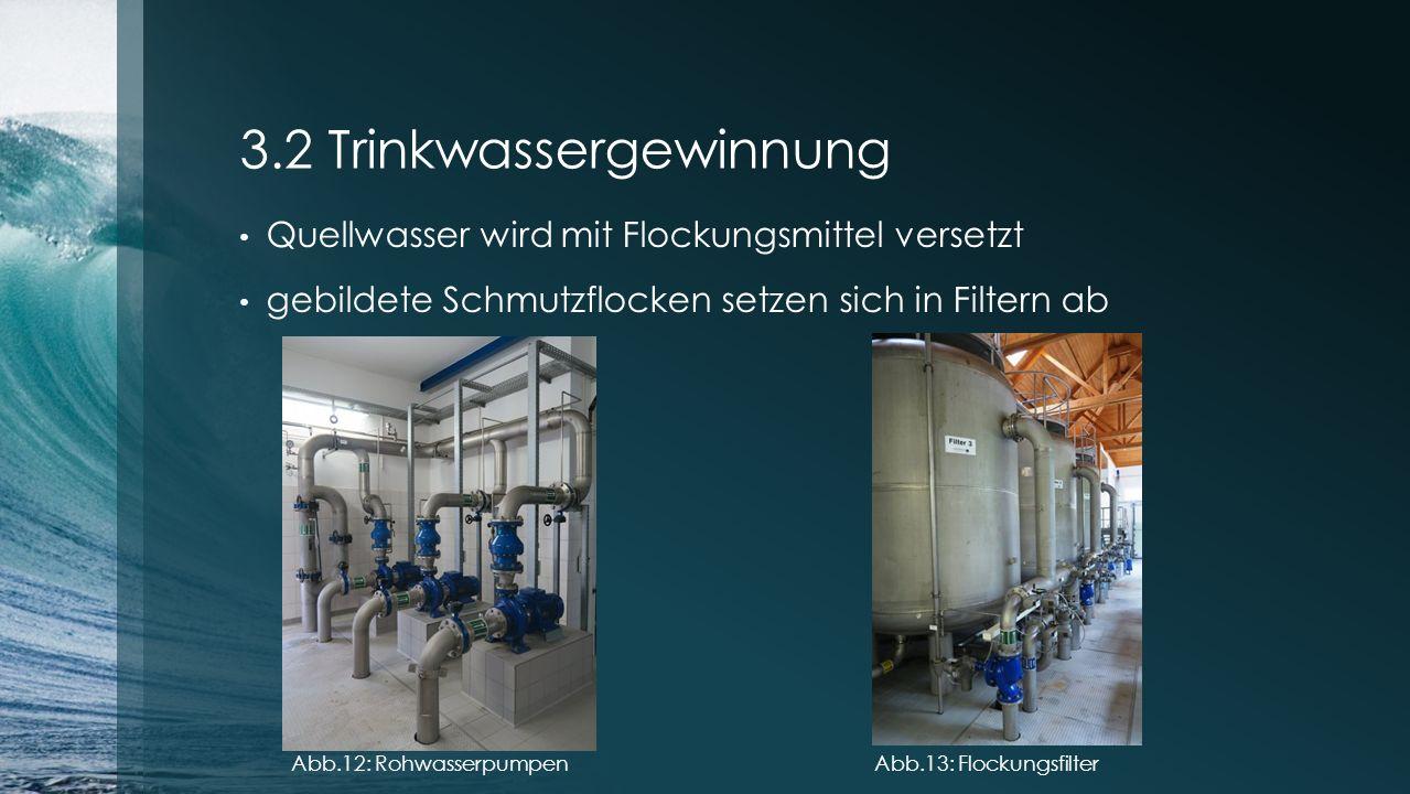 3.2 Trinkwassergewinnung Quellwasser wird mit Flockungsmittel versetzt gebildete Schmutzflocken setzen sich in Filtern ab Abb.12: RohwasserpumpenAbb.1