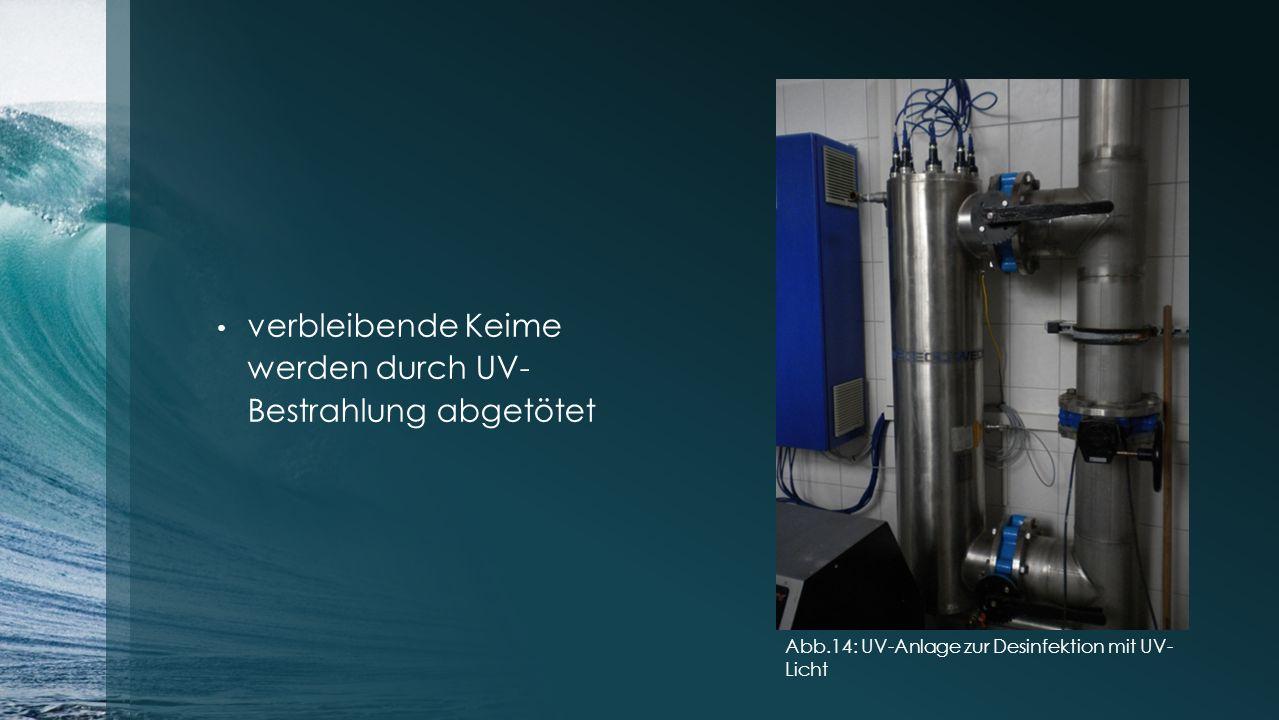 verbleibende Keime werden durch UV- Bestrahlung abgetötet Abb.14: UV-Anlage zur Desinfektion mit UV- Licht
