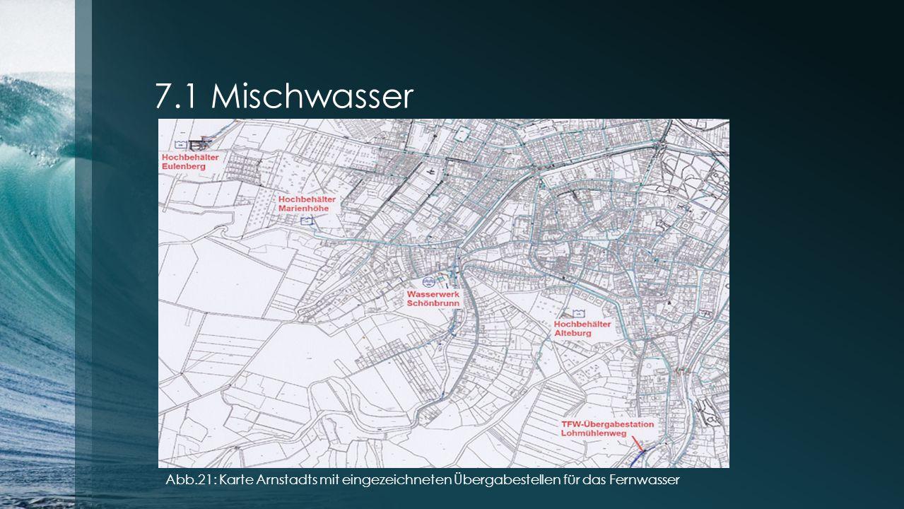 7.1 Mischwasser Abb.21: Karte Arnstadts mit eingezeichneten Übergabestellen für das Fernwasser