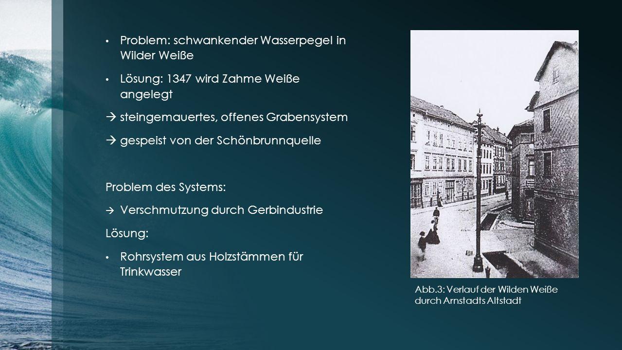 Problem: schwankender Wasserpegel in Wilder Weiße Lösung: 1347 wird Zahme Weiße angelegt  steingemauertes, offenes Grabensystem  gespeist von der Sc