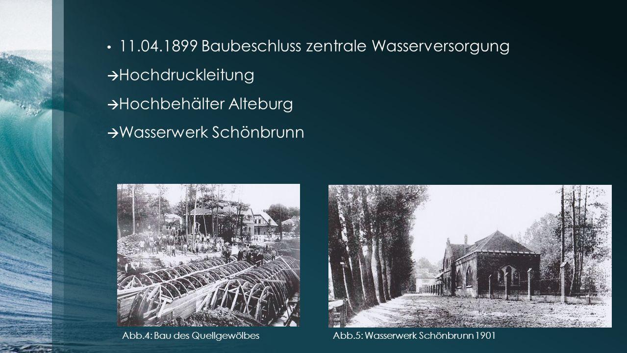 11.04.1899 Baubeschluss zentrale Wasserversorgung  Hochdruckleitung  Hochbehälter Alteburg  Wasserwerk Schönbrunn Abb.4: Bau des QuellgewölbesAbb.5