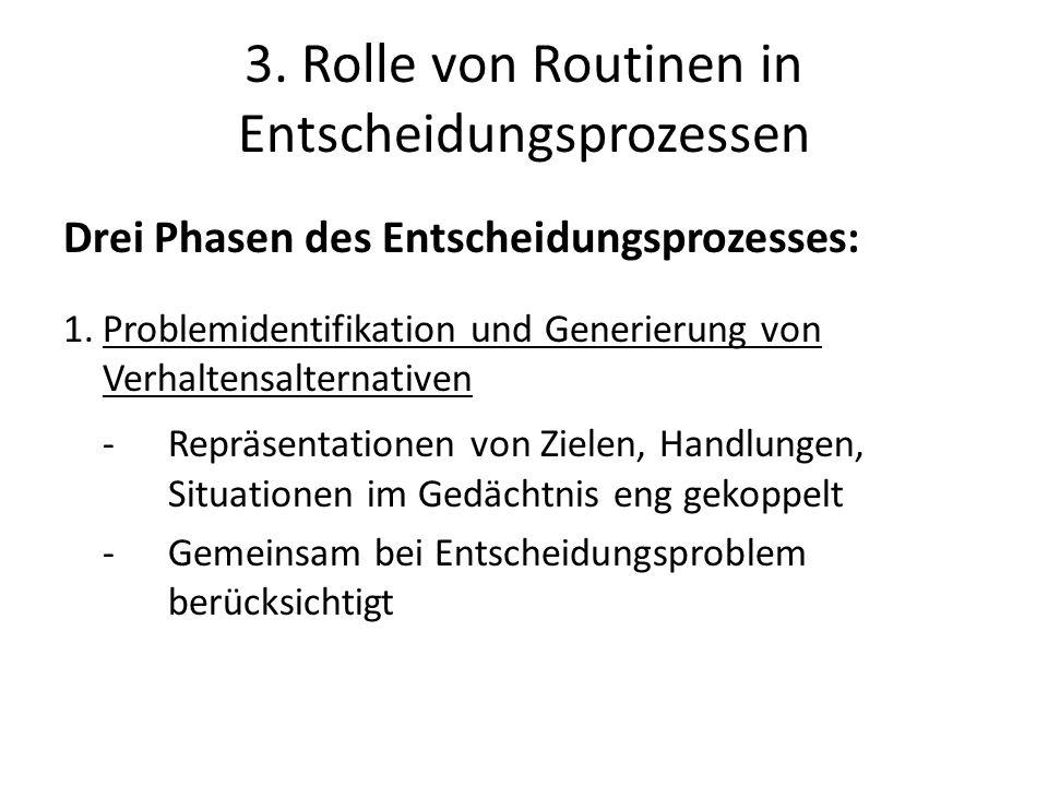 3. Rolle von Routinen in Entscheidungsprozessen Drei Phasen des Entscheidungsprozesses: 1.Problemidentifikation und Generierung von Verhaltensalternat
