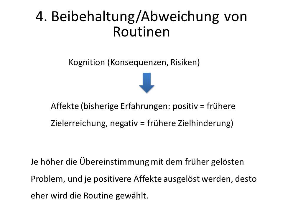 Kognition (Konsequenzen, Risiken) Affekte (bisherige Erfahrungen: positiv = frühere Zielerreichung, negativ = frühere Zielhinderung) Je höher die Übereinstimmung mit dem früher gelösten Problem, und je positivere Affekte ausgelöst werden, desto eher wird die Routine gewählt.