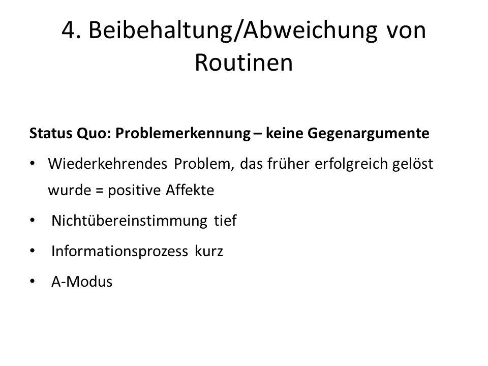 Status Quo: Problemerkennung – keine Gegenargumente Wiederkehrendes Problem, das früher erfolgreich gelöst wurde = positive Affekte Nichtübereinstimmung tief Informationsprozess kurz A-Modus