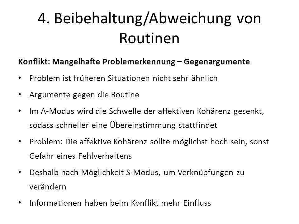 4. Beibehaltung/Abweichung von Routinen Konflikt: Mangelhafte Problemerkennung – Gegenargumente Problem ist früheren Situationen nicht sehr ähnlich Ar
