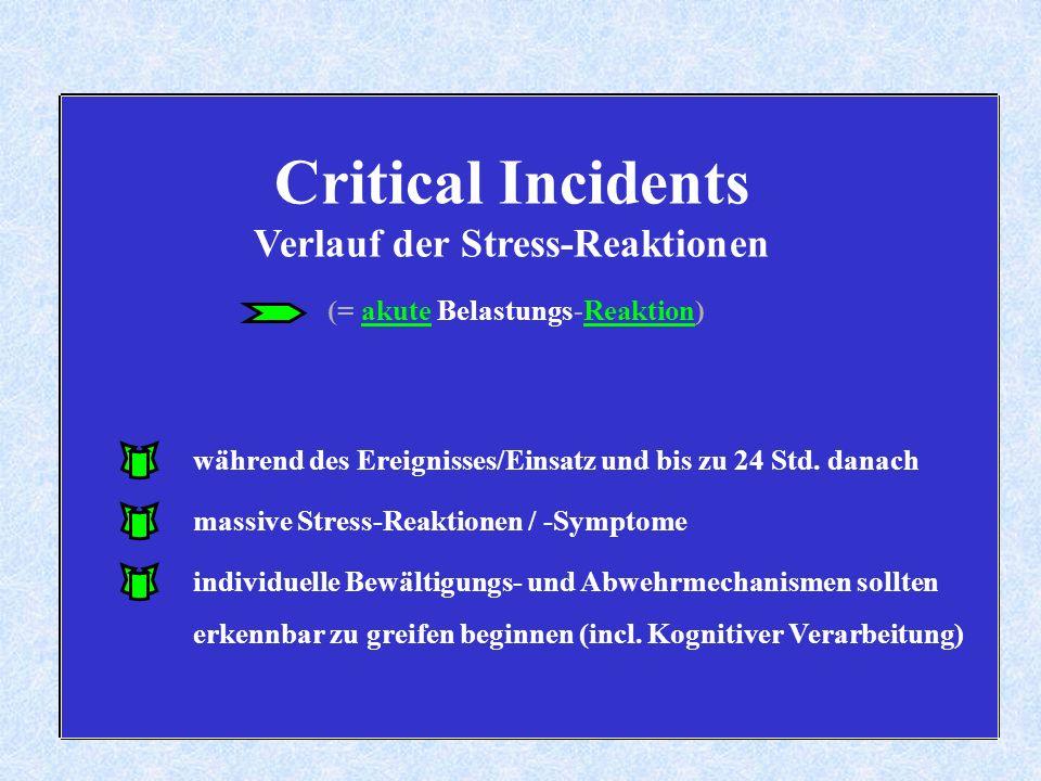 Critical Incidents Verlauf der Stress-Reaktionen (= akute Belastungs-Reaktion) massive Stress-Reaktionen / -Symptome individuelle Bewältigungs- und Abwehrmechanismen sollten erkennbar zu greifen beginnen (incl.