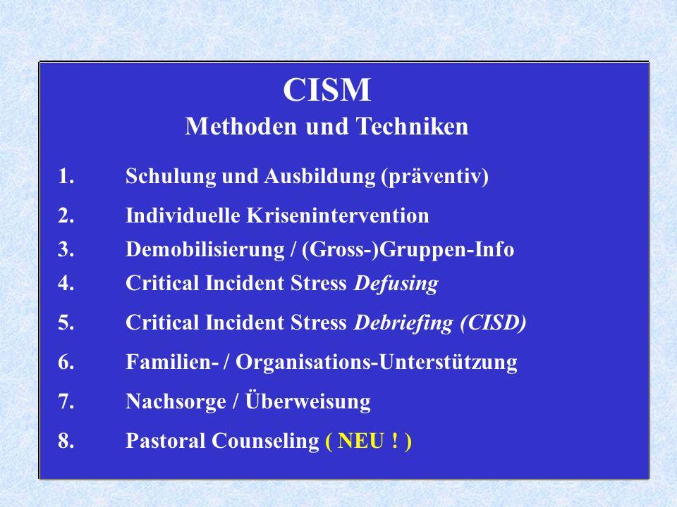 CISM Methoden und Techniken 1.Schulung und Ausbildung (präventiv) 2.Individuelle Krisenintervention 3.Demobilisierung / (Gross-)Gruppen-Info 4.Critical Incident Stress Defusing 5.Critical Incident Stress Debriefing (CISD) 6.Familien- / Organisations-Unterstützung 7.Nachsorge / Überweisung 8.Pastoral Counseling ( NEU .
