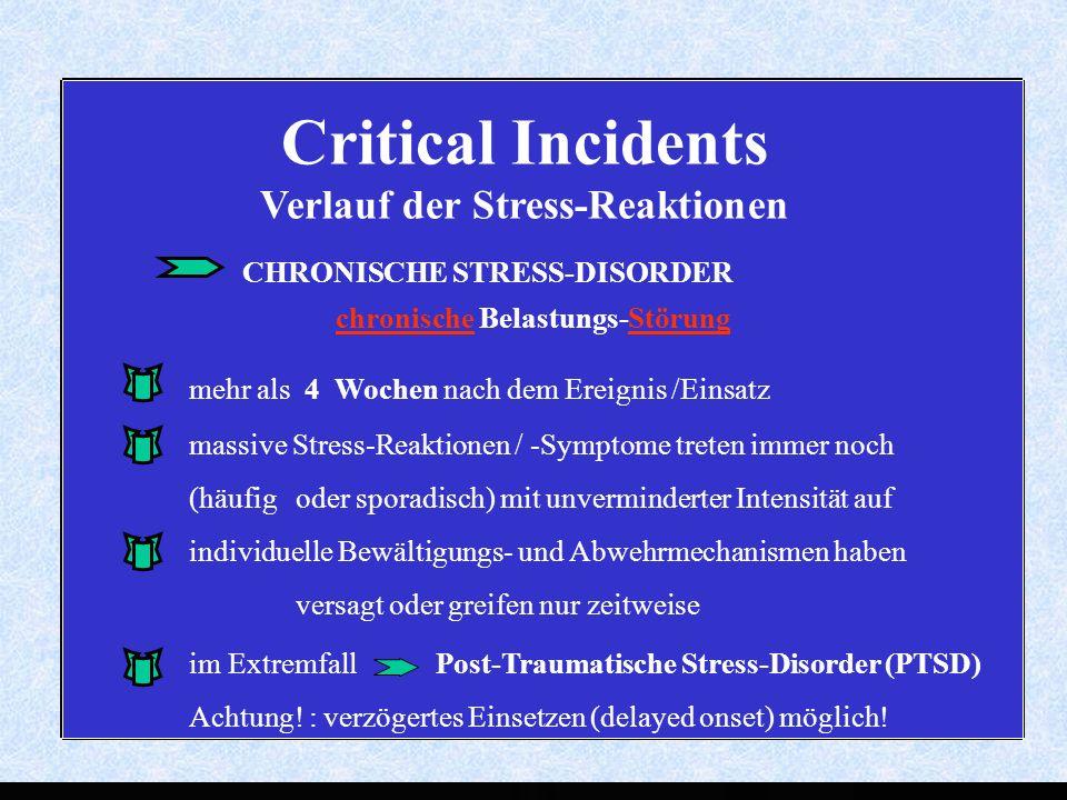 Critical Incidents Verlauf der Stress-Reaktionen chronische Belastungs-Störung massive Stress-Reaktionen / -Symptome treten immer noch (häufig oder sporadisch) mit unverminderter Intensität auf individuelle Bewältigungs- und Abwehrmechanismen haben versagt oder greifen nur zeitweise im Extremfall Post-Traumatische Stress-Disorder (PTSD) Achtung.