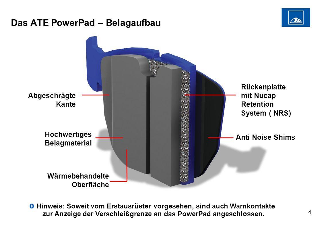 4 Das ATE PowerPad – Belagaufbau Anti Noise Shims Abgeschrägte Kante Rückenplatte mit Nucap Retention System ( NRS) Hochwertiges Belagmaterial Wärmebe