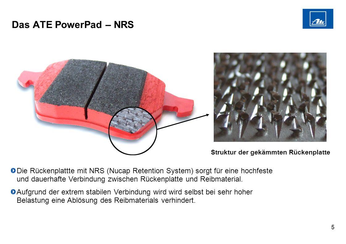 5 Das ATE PowerPad – NRS Die Rückenplattte mit NRS (Nucap Retention System) sorgt für eine hochfeste und dauerhafte Verbindung zwischen Rückenplatte u