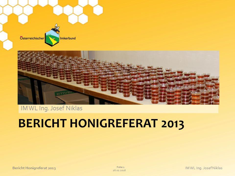 26.02.2016 Folie 1 Bericht Honigreferat 2013IM WL Ing. Josef Niklas BERICHT HONIGREFERAT 2013 IM WL Ing. Josef Niklas
