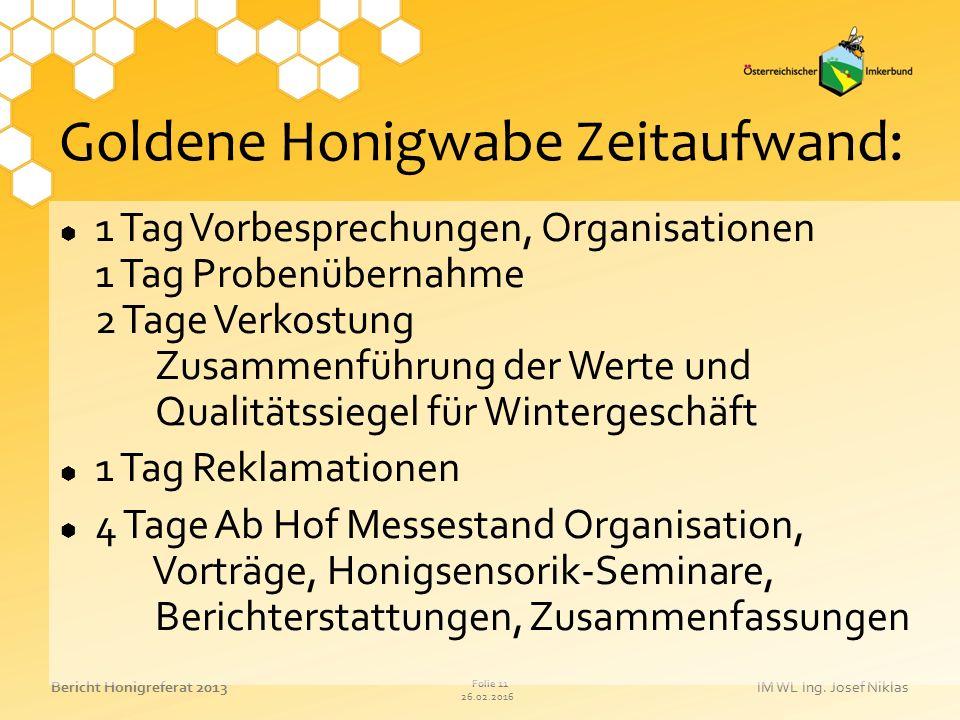 26.02.2016 Folie 11 Bericht Honigreferat 2013IM WL Ing. Josef Niklas Goldene Honigwabe Zeitaufwand:  1 Tag Vorbesprechungen, Organisationen 1 Tag Pro