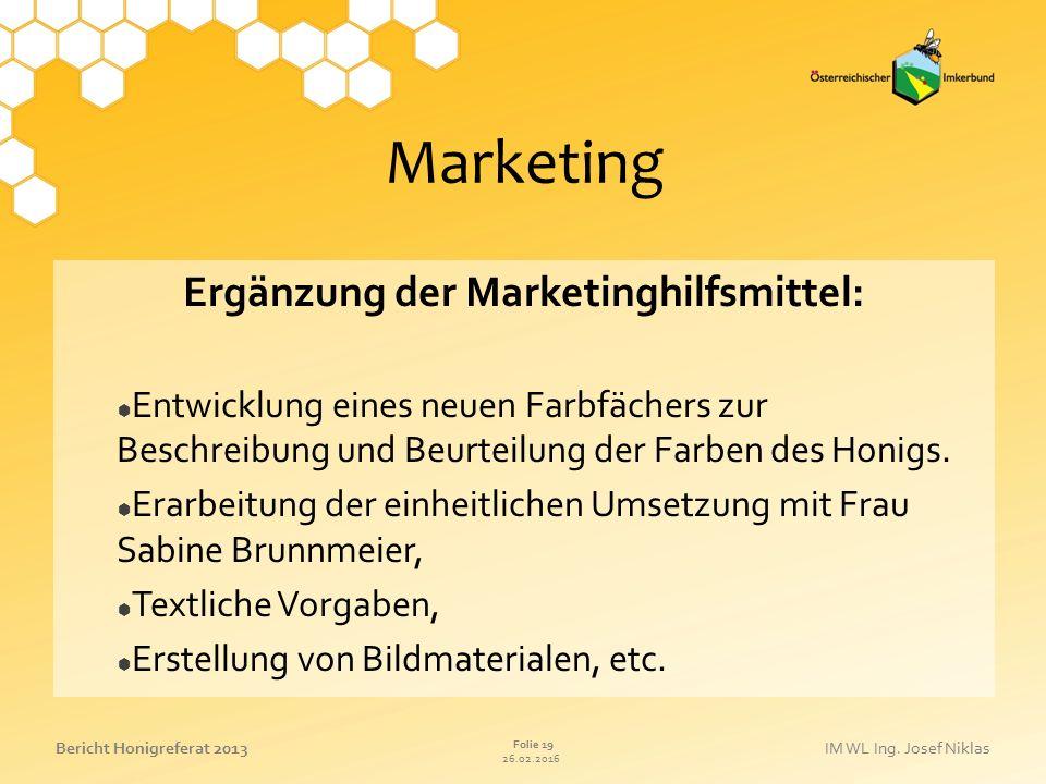 26.02.2016 Folie 19 Bericht Honigreferat 2013IM WL Ing. Josef Niklas Marketing Ergänzung der Marketinghilfsmittel:  Entwicklung eines neuen Farbfäche