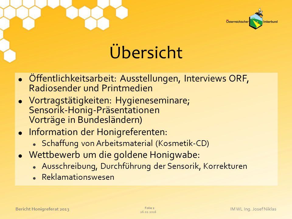 26.02.2016 Folie 2 Bericht Honigreferat 2013IM WL Ing. Josef Niklas Übersicht  Öffentlichkeitsarbeit: Ausstellungen, Interviews ORF, Radiosender und
