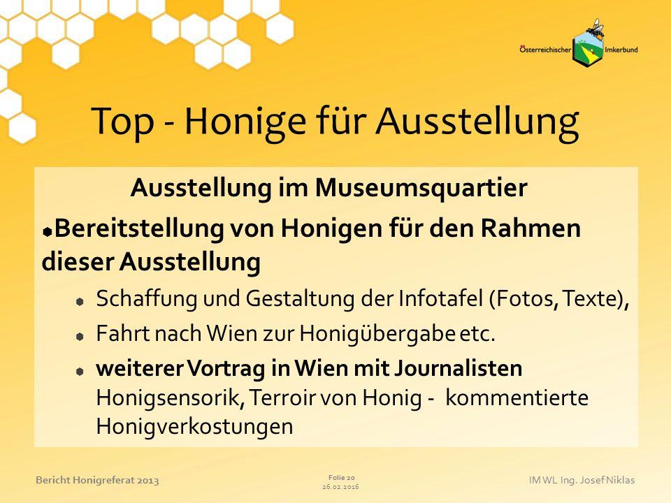 26.02.2016 Folie 20 Bericht Honigreferat 2013IM WL Ing. Josef Niklas Top - Honige für Ausstellung Ausstellung im Museumsquartier  Bereitstellung von