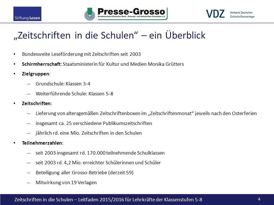 Bundesweite Leseförderung mit Zeitschriften seit 2003 Schirmherrschaft: Staatsministerin für Kultur und Medien Monika Grütters Zielgruppen:  Grundsch