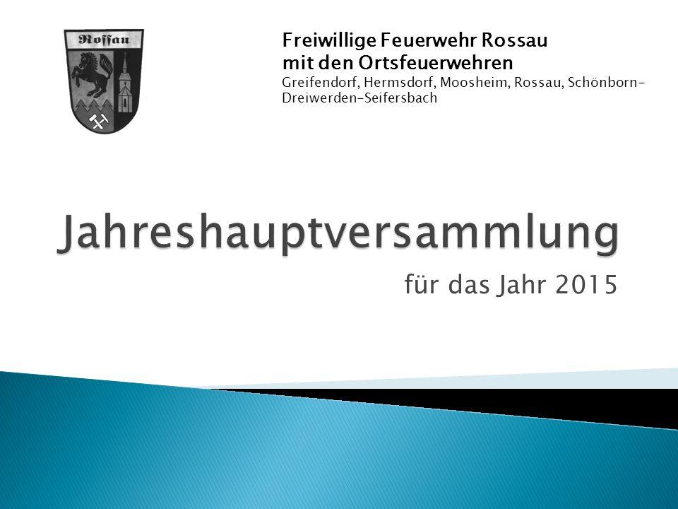 für das Jahr 2015 Freiwillige Feuerwehr Rossau mit den Ortsfeuerwehren Greifendorf, Hermsdorf, Moosheim, Rossau, Schönborn- Dreiwerden-Seifersbach